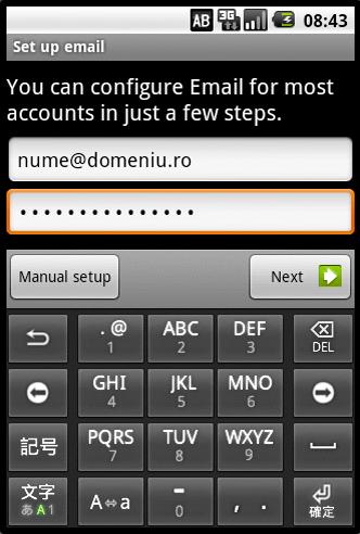 configurarea unui cont de e-mail pe android