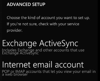 setari avansate pentru contul de e-mail