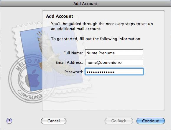 configurarea unui cont de e-mail pe macbook