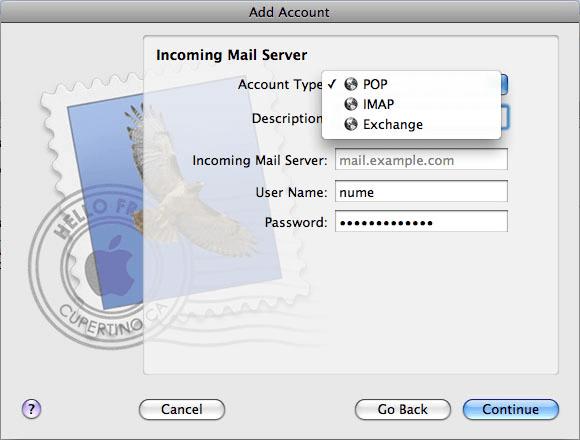 alegere tip de cont incoming mail server