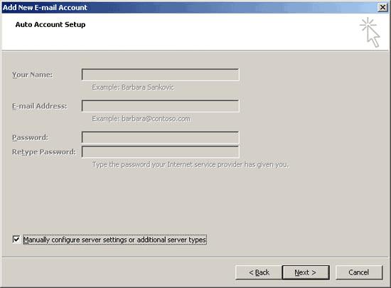 setari manuale cont email