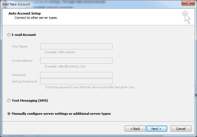 adaugare cont nou de email