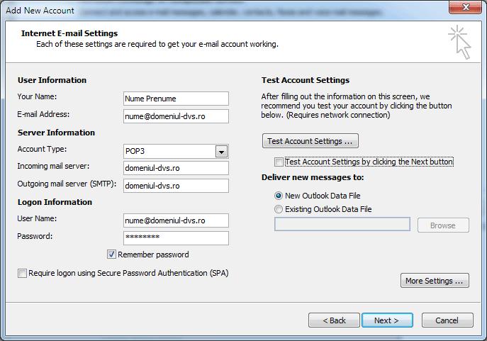 setarile contului de email