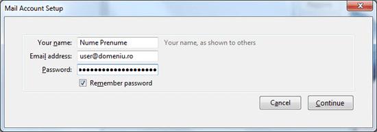 setarile mail account setup